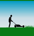 work in the garden mowing grass with a lawnmower vector image vector image