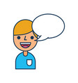 young boy cartoon with bubble speech communication vector image