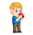 young boy drinking with paper cup vector image vector image