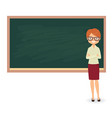 young female teacher against a blackboard vector image vector image