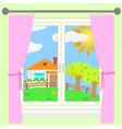 rural landscape outside the window vector image
