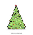 Christmas doodle tree with garland vector image