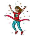 woman runner cross the finish line cartoon style vector image