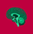 flat shading style icon brain vector image