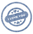 i love you stamp seal rounded fabric textured icon vector image