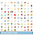 100 wellness icons set cartoon style vector image