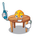 automotive wooden table isolated on the mascot vector image vector image