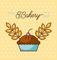 bakery sweet cake berry and wheat grain design vector image