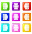 barrel icons 9 set vector image vector image