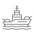battleship thin line icon navy and army warship vector image vector image