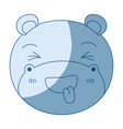 blue color shading silhouette cute face of hippo vector image vector image