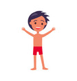 brunette boy in swim suit raises hands up vector image