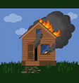 burning wooden house fire in a rustic wooden vector image