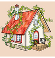 cartoon fairy house overgrown with ivy vector image vector image