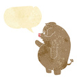 cartoon fat pig with speech bubble vector image vector image