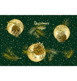 christmas set pattern with golden realistic vector image vector image