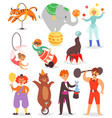 circus people acrobat and clown vector image vector image