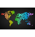 Colorful World Map in Typography vector image vector image