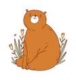 cute bear sitting in flowers vector image
