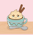 delicious chocolate cup and sweet food kawaii vector image