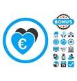 Euro Favorites Flat Icon with Bonus vector image vector image