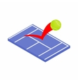 Flying tennis ball on a blue court icon vector image vector image