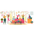 friends dancing at party flat vector image vector image