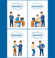good and bad boss director with office workers vector image vector image