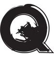 grunge font letter q vector image vector image