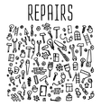 Hand drawn repairs construction tools seamless vector image vector image