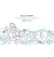 hello winter - modern line design style web vector image