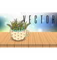 herbal tea cup on wooden table bokeh background vector image vector image