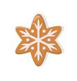 holiday gingerbread brown snowflake vector image vector image