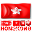 Hong Kong flag in different designs and wording vector image vector image