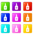 insect spray icons 9 set vector image vector image