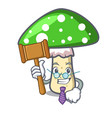 judge green amanita mushroom mascot cartoon vector image vector image
