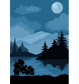Landscape trees moon and mountains vector image