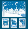 merry christmas paper cuts of town and nature vector image vector image