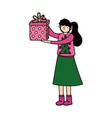 merry christmas woman with sweater and gift box vector image vector image