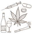 narcotics - marijuana alcohol vector image