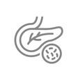 pancreas with bacteria line icon disease internal vector image