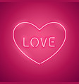 pink love in the heart neon banner vector image vector image