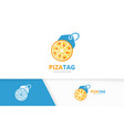 pizza and tag logo combination food and vector image vector image