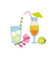 refreshing summer cocktails with straws vector image
