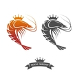 Royal shrimp sign vector image vector image