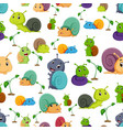seamless pattern with snail cartoon vector image
