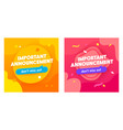 set important announcement banners vector image vector image