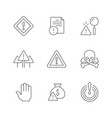 set line icons warnings vector image