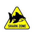 shark zone sign shark silhouette on triangle vector image vector image