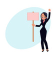 smiling girl woman businesswoman on strike vector image vector image
